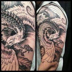 Chronic Ink Tattoo - Toronto Tattoo 1st session phoenix half sleeve tattoo in progress by Winson.