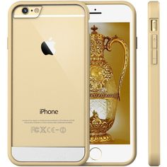 """iPhone 6 Case, JETech Apple iPhone 6 Case 4.7"""" Bumper Cover... ($15) ❤ liked on Polyvore featuring accessories, tech accessories, phones, phone cases, electronics, iphone, cases, prepaid smartphones and gold smartphone"""