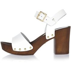 5a1345ac10dcdc River Island White leather two strap clogs ( 55) ❤ liked on Polyvore  featuring shoes