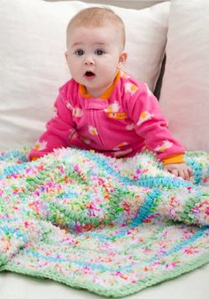 Red Heart® Cuddle Baby Blanket #crochet #pattern