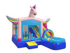 Unicorn Inflatable, Inflatable Water Park, Inflatable Bounce House, Inflatable Island, Bounce House Birthday, Unicorn Birthday Parties, Unicorn Party, Water Bounce House, Bouncy Castle For Sale
