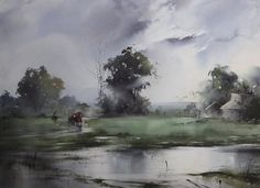"""https://www.facebook.com/MiaFeigelson """"At the end of the village"""" By Ilya Ibryaev (Ибряев Илья), from Moscow (b. 1955) watercolor; 53 x 75 cm  https://www.facebook.com/ilya.ibryaev"""