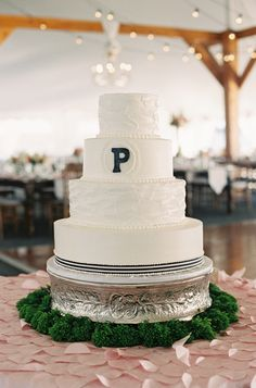 #Cake | Tented Wedding with #Barn Vibes | See the wedding on SMP -- http://www.StyleMePretty.com/little-black-book-blog/2014/01/23/preppy-chic-waterfront-backyard-wedding/ Adam Barnes Fine Art Photography