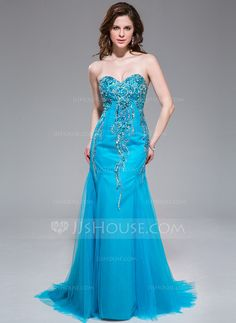Trumpet/Mermaid Sweetheart Sweep Train Tulle Prom Dress With Beading Sequins (017041024)
