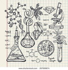 Hand drawn science beautiful vintage lab icons sketch set . Vector illustration.Back to School. Doodle lab equipment. Note book page paper.Biology geology alchemy chemistry, magic. tattoo elements.
