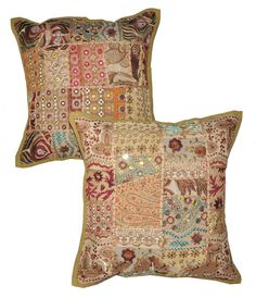 2pc indian patchwork throw pillow cover black bohemian pillow indian cushion cover large - Large Decorative Pillows