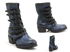 19 A.S.98 – hand coloured/washed leather boots, distressed look rubber sole with multiple adjustable buckles and a side zipper in dark blue and black gradient, SKU: 0241950 $560 Contact BLU'S at shop@blus.com to order