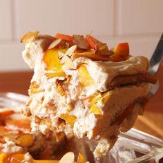 'n Cream No-Bake Lasagna Everything's peachy! Get this no-bake dessert at . Get this no-bake dessert at . Mini Desserts, Summer Desserts, No Bake Desserts, Easy Desserts, Delicious Desserts, Yummy Food, Baking Desserts, German Desserts, Easy Cake Recipes