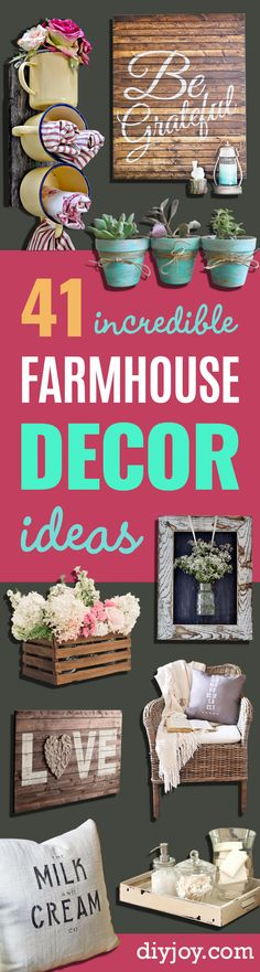 DIY Farmhouse Style Decor Ideas - Rustic Ideas for Furniture, Paint Colors, Farm. CLICK Image for full details DIY Farmhouse Style Decor Ideas - Rustic Ideas for Furniture, Paint Colors, Farm House Decoration for Living. Diy Home Decor Rustic, Country Decor, Country Crafts, Country Farm, Farmhouse Style Decorating, Farmhouse Chic, Farmhouse Ideas, Farmhouse Garden, Target Farmhouse