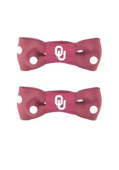 Oklahoma Sooners Polka Dot Bow Pigtail Holders http://www.rallyhouse.com/shop/oklahoma-sooners-oklahoma-sooners-polka-dot-bow-pigtail-holders-104235?utm_source=pinterest&utm_medium=social&utm_campaign=Pinterest-OUSooners $5.99
