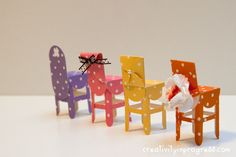 To do: Create sweet dotted paper chairs...great tutorial