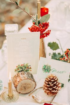 Woodland Christmas, Christmas Wedding, Wedding Table, Place Cards, Gift Wrapping, Place Card Holders, Gifts, Winter, Wedding Inspiration