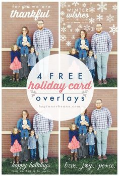 4 Free Holiday Card Overlays with tips on how to use them with PicMonkey.