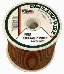 Pico 81106S 10 AWG Brown Primary Wire 75' per Package by Pico. $41.95. Single Conductor copper stranded primary wire with the highest quality polyvinyl chloride insulation providing the best in flexibility, permanent color and resistance to acids, grease, oil and diesel fumes. Primary wire is manufactured to meet all SAE Type J1128 specifications and will work safely between the operating temperatures of -40°F and 165°F.