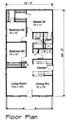 Bungalow Style House Plan 72708 with 3 Bed, 2 Bath First Floor Plan of Bungalow House Plan 72708 House Plans 3 Bedroom, Barn House Plans, Bungalow House Plans, Country House Plans, Cabin Plans, Small House Plans, House Floor Plans, Shotgun House Plans, 1000 Sq Ft House