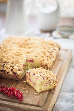 Coconut and red currant cake