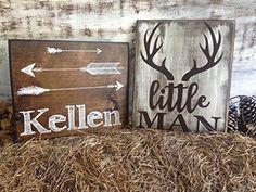 little man deer antler sign, rustic nursery décor, woodland nursery, deer nursery, wood animals nursery, rustic baby shower, arrow baby bedding