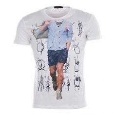 Tee-shirt Antony Morato blanc floqué d'une silhouette et de nœuds marins