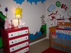 I love our baby girl's crazy kooky Dr. Seuss nursery with all of the whimsical storybook characters, bright colors and Dr Seuss storylines. Dr Seuss Nursery, Nursery Room, Girl Nursery, Furniture Doctor, Kids Furniture, Painted Furniture, Nursery Themes, Nursery Decor, Nursery Ideas