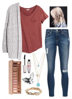"""""""Cute Begginings"""" by girluntold ❤ liked on Polyvore featuring H&M, Violeta by Mango, AG Adriano Goldschmied, Aéropostale, Design Lab, Rimmel, Urban Decay and Bamford"""