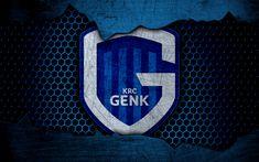 Download wallpapers Genk, 4k, logo, ESL Pro League, soccer, football club, Belgium, grunge, KRC Genk, metal texture, Genk FC