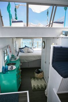 would do inside of restored camper in these colors and style....Chris and Kristen's Dreamy Houseboat...could live here for a bit....
