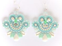 Mini Earrings - Precious Mint - Boucles brodées