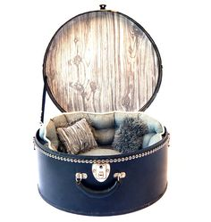 Vintage Inspired Repurposed Hat Box to Cozy Pet by VintageDetailz