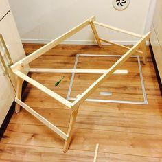 家事さぼり、台所でテーブル作り。後は天板つけるだけ キャンプに間に合わせるぞー</span>️ #キャンプ #自作テーブル #DIY