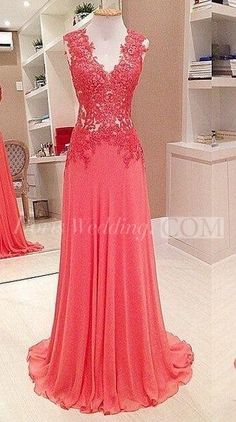 Elegant V Neck Sleeveless Lace Appliques  Long Chiffon  Evening Dress 2016. http://www.doriswedding.com/elegant-v-neck-sleeveless-lace-appliques-evening-dress-2016-long-chiffon-floor-length-p324697.html. Evening gown trends come and that's the season! This season can't let this elegant evening gown goes away. You deserve it at www.doriswedding.com!