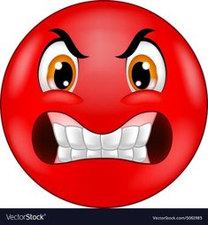 Angry smiley emoticon vector image on VectorStock