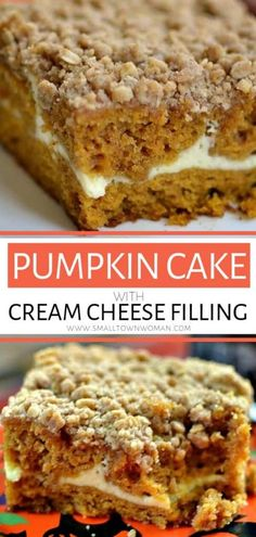 Pumpkin Cake with Cream Cheese Filling An easy Pumpkin Cake recipe with Cream Cheese frosting! This decadent fall dessert is moist, lightly sweetened, and the perfect fun fall treat! Save this recipe for your holiday parties! Pumpkin Cake Recipes, Fall Dessert Recipes, Fall Recipes, Easy Pumpkin Cake, Easy Pumpkin Desserts, Pumpkin Bars, Thanksgiving Recipes, Delicious Recipes, Holiday Recipes