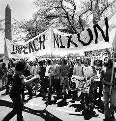 On April 27, 1974, 10,000 protesters marched in Washington, D.C., calling for the impeachment of President Richard Nixon.