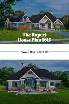 The Rupert house plan 1615 is now in progress! 2432 sq ft | 3 Beds | 2.5 Baths This one-story Craftsman design features a courtyard entry garage and is adorned with arched gable brackets, tapered columns, and stone. An open configuration promotes easy living inside with a cozy great room, island kitchen, spacious dining room, and a relaxing rear porch. In the master suite, find a luxury bathroom and a massive walk-in closet. #wedesigndreams #craftsmanhouseplan Gable Brackets, Courtyard Entry, Craftsman Style House Plans, Great Rooms, Master Suite, Cabin, How To Plan, Mansions, House Styles