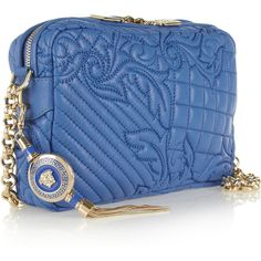 Versace Quilted leather shoulder bag ($1,525) ❤ liked on Polyvore