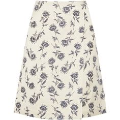 Tory Burch - Wrap-effect Linen-blend Floral-jacquard Skirt ($180) ❤ liked on Polyvore featuring skirts, ecru, shiny skirt, wraparound skirt, floral jacquard skirt, floral printed skirt and blue skirt