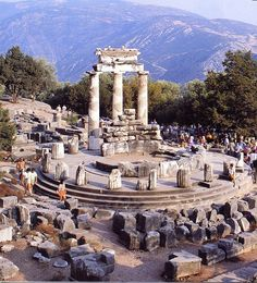 A MAJOR ORACLE IN ANCIENT GREECE DELPHI, REPRESENTS TODAY A SIGNIFICANT ARCHEOLOGICAL SITE IN FOKIS GREECE