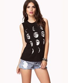 Forever 21 Moon Cycle Muscle Tee in Black/Cream $15.80 is a knockoff of Brandy Melville's Moon Tops!