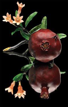 """Pomegranate"" Anna Nova Jewelry House St. Petersburg Russia. 14k yellow gold, 22k silver, green nephrite, jasper, quartzite, garnets, gilt. Via wordpress.com"