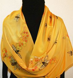 Yellow Silk Scarf. Honey Gold Hand Painted Scarf. Handmade Silk Scarf HONEY BEE. Large 14x70. Hand Dyed Birthday Gift. Silk Scarves Colorado. $159