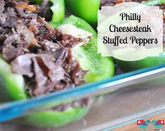Philly Cheesesteak Stuffed Peppers - A delicious and easy dinner recipe! Also a great low carb and potentially gluten free recipe (depending on brand choices). {The Love Nerds} #recipe #dinner #stuffedpeppers