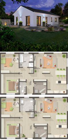 """Unseren """"Bungalow 100"""" gibt es mit verschiedenen Grundrissen - von klassisch bis modern, mit Gäste-WC oder ohne....schaut´s Euch doch mal an: https://www.hausausstellung.de/bungalow-100-massivhaus.html   #haus #bungalow #bauen"""