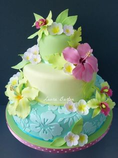 Bright spring Hawaiian cake decorated with fondant Gorgeous Cakes, Pretty Cakes, Amazing Cakes, Fondant Cakes, Cupcake Cakes, Cake Fondant, Fondant Figures, Just Cakes, Specialty Cakes