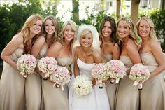 Oyster-color bridesmaid dresses go well with earth tones, silver AND gold.