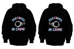 Couple Matching Hoodies Partners In Crime Black S by ShopAloni