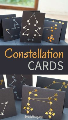These Constellation Cards are super easy to make and look really effective. They are a quick and simple activity for kids and make lovely Christmas cards. Or you could use them for any time of year really! What constellation design will you create? #homemadecards #constellations #christmascards #kidsactivities