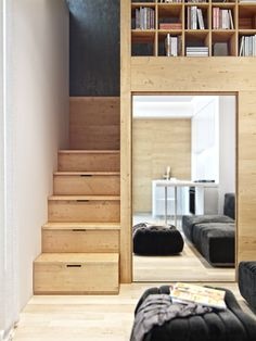 Small loft apartment with hidden office solution Small loft apartment with hidden office solution – Living in a shoebox Small Loft Spaces, Small Loft Apartments, Small Space Living, Living Spaces, Studio Apartments, Living Room, Micro Apartment, Apartment Living, Tiny Loft