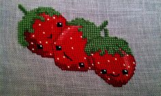 Over-the-moon cute cross stitch strawberries. #cute #kawaii #stitchery #cross_stitch #strawberries #crafts #sewing