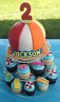 Pool Party Cake and Cupcakes by CakeGirlKC, via Flickr
