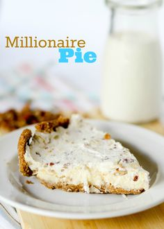 Millionaire Pie -- Furr's Cafeteria Recipe  This rich, buttery, NO BAKE pie is PERFECT for THANKSGIVING!!